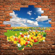 Sticker mural trompe l'oeil mur de pierre champ de fleurs réf 859