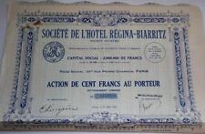 Original France 1925 Hotel Regina - Biarritz 100 francs Uncancelled  coupons
