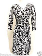 NWT Ann Taylor White/Black Paisley Print True Wrap ¾ Sleeve Machine Washable