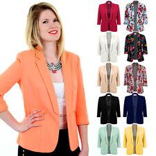 Ladies 3/4 Turned Up Sleeve Open Front Women's Smart Office Blazer Lined Jacket