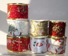 Christmas Wire Edge Ribbon 50mm wide Red White Santa Snowman per metre