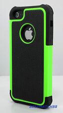 for iPhone 5 5s green black triple layer hybrid hard soft case skin +screen film