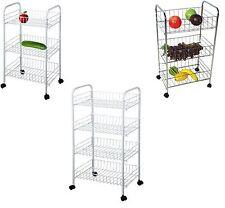 3/ 4 Tier Kitchen Trolley on Wheel Cart Vegetable Rack Fruit Basket Corner Shelf