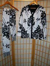 Vtg 60s 70s B&W Polka Dot Floral Cardigan Sweater & Fringed Neck Scarf Set Sz M