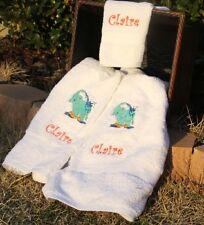 Personalized Embroidered Turquoise Elephant Splashing Water 3 pc Bath Towel Set