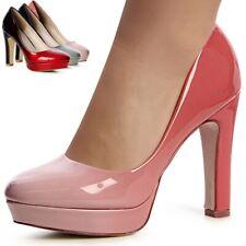 Damen Pumps Plateau High Heels Lack Farbverlauf Ombre