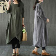 Women Casual Flare Maxi Dress Baggy Vintage Boho Plus Size Cotton Linen Kaftan