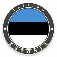 2 x Tallinn Estonia Flag Vinyl Sticker Car Travel Luggage #9503