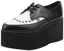 T.U.K. A8665 Tuk Black & White Eva Leather Pointed Stacked Creepers Tuxedo High