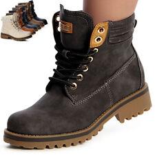Damen Stiefel Worker Boots Schnürer Blockabsatz derb