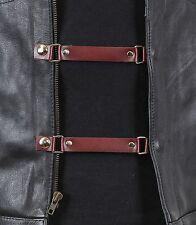 1 Piece Brown Leather Stylish Vest Extender Extension For MC Jacket Bikers Vest
