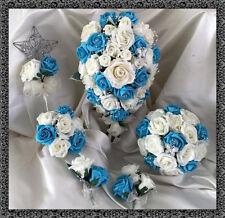 Flores Boda Marfil/Turquesa Ramo De Cristal Novia/Damas de honor/Ojales