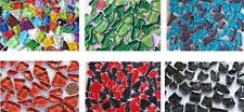 100 Glas Mosaiksteine mit Flimmer Goldfäden Goldline1,5x1,5cm weiß ca.145g