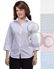 Ladies Shirt Size  6 8 10 12 14 16 18 20 22 24 3/4 Sleeve Self Stripe Business