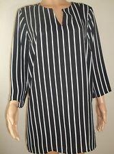 Striped Black White V Neck Tunic Blouse Plus Size 1X 2X 3X 2018 NEW YEAR SALE