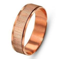 14k Rose Gold Wedding Ring Unisex Wedding Band Vertical Ridged Center 5mm