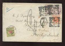 Svizzera 1896 AFFRANCATURA dovute oppure Imposta copertura GB QV 2 1 / 2D