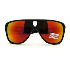 Color Mirror Lens Men's Rectangular Turbo Racer Retro Plastic Sunglasses