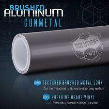 Brushed Aluminum Metallic Vinyl Film Wrap Sticker Bubble Free Air - Gunmetal