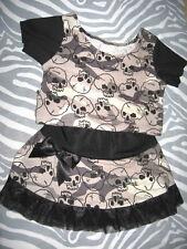 New Baby Girls Black,Khaki Camoflarge Skulls Skirt Top Set Punk Gift rock Goth