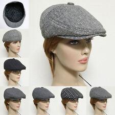 Gatsby Newsboy Cap Wool Acrylic Men Ivy Hat Golf Flat Cabbie Black Gray New