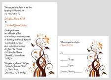 100 Personalized Custom Autumn Fall Floral Bridal Wedding Invitations Cards Set