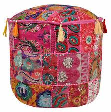 Indian Ottoman Pouffe Cotton Indian Throw Pillow Cover Patchwork Decor