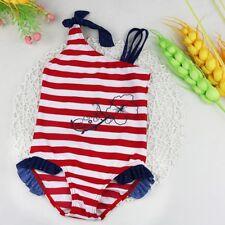 Girls Kid One Piece Striped Bikini Swimsuit Swimwear Bathers Swimmers Size 1-8Y