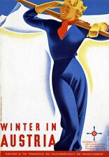 TR13 Vintage Austrian Winter Ski In Austria Travel Poster Re-Print A4