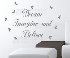 Dream Imagine and Believe Vinyl Art Wall Quote Sticker Decal + 20 Butterflies