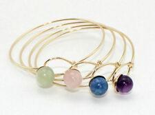 Women's Gold Plated Natural Stone Quartz Lapis lazuli Jade Bangle Bracelet