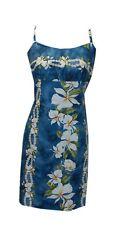 Casual Short Blue Ginger Floral Hawaiian Cotton Spaghetti Strap Dress-XS-4X