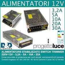 ALIMENTATORE STABILIZZATO SWITCH TRIMMER 220V-12V - 3,2A - 5A - 10A - 20A