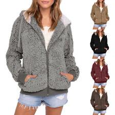 Women Ladies Pocket Hooded Parka Outwear Fluffy Cardigan Sweater Coat Jacket Hot