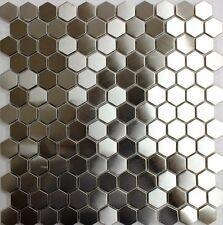 "STAINLESS STEEL HEXAGON 1"" mosaic back splash wall tile bar wall floor tiles spa"