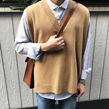 Mens V-Neck Sweater Knitted Vest Waistcoat Jumper Sleeveless Pullover Tops