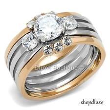 Stunning Round Cut Cz Two Tone 3 Piece Wedding Ring Set Women's Sz 5,6,7,8,9,10