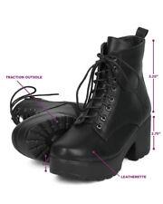 New Women Indulge Mona I Faux Suede Platform Lug Sole Block Heel Combat Bootie