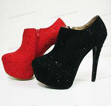 New Womens Pumps Ankle Stiletto Platform High Heel Rhinestone Zipper Shoes Sizes