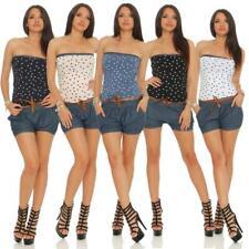 Damen Jumpsuit Sommer Overall Jeans kurze Hose Bandeau Top Streifen Punkte Anker