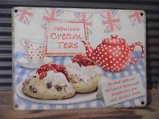 Fabulous Cream Tea Union Jack petit, med, grande cuisine, plaque mural en acier signe étain