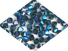 Czech MC Glass Bicone Beads (Rondell/Diamond) Montana full AB, 3mm, 4mm AB2X
