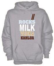 Felpa Fun hoodie KJ574 Rocks Milk Vodka Kahlua Rock Latte Vodka Liquore Drunk