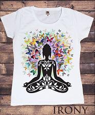 Da Donna Bianco T-shirt, Farfalla ZEN Halo, la meditazione Budha stampa C24-4