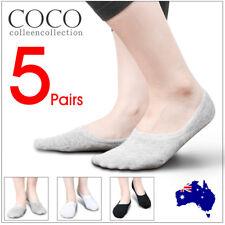 5 Pairs Men Women Invisible Low Cut No Show Footlet Socks Cotton Rich No-Slip