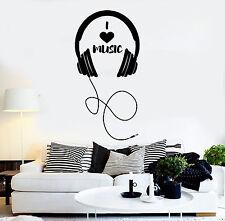 Vinyl Wall Decal Headphones Musical Decor Teen Room Stickers Mural (ig4274)