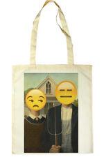 American Gothic, Grant Wood, Emoji Painting Tote Shopper Bag