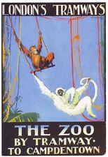 1928 London Tramways Zoo  Poster A3 / A2 Print
