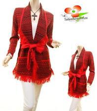 Women Aztec Tribal Knit Fringe Open Wrap Belted Tunic Cardigan Sweater Coat Top