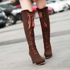 Women Lace Up Solid Cuban High Heel Round Toe Platform Knee High Boots EUR35-43